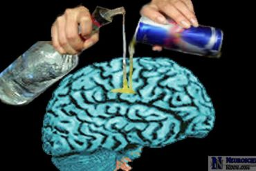 Alcohol is being poured on a brain.
