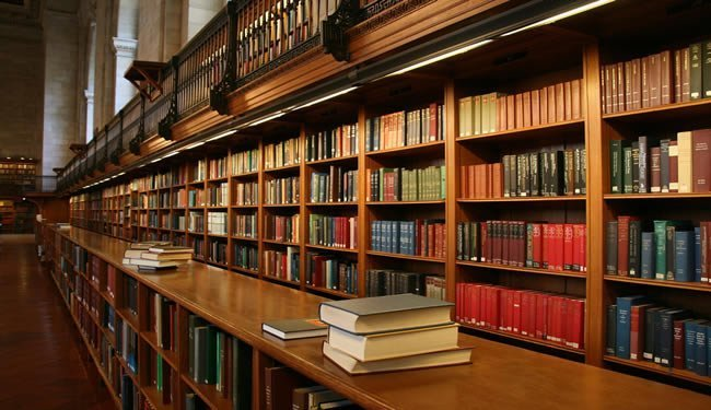 A library aisle is shown.