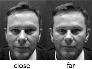 Two pictures of a man from different distances are side by side.