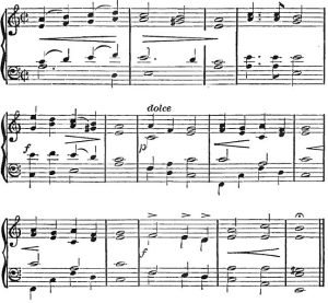 The image shows a section of the sheet music score for The Music of Bohemia.