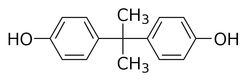The image shows the chemical structure of bisphenol A.