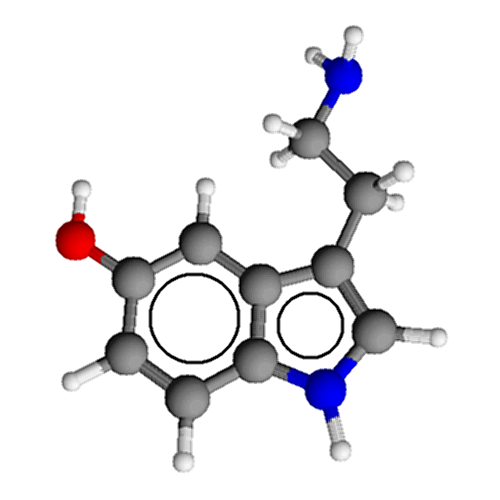 The image shows a 3D model of the structure of serotonin.