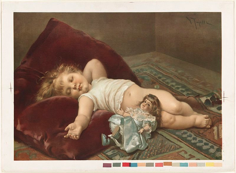 This is a painting of a sleeping baby.