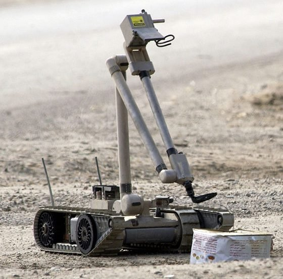 This is an image of a U.S. Army explosive ordnance disposal (EOD) robot.