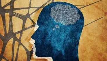 The illustration shows a human head with a thought bubble for a brain.