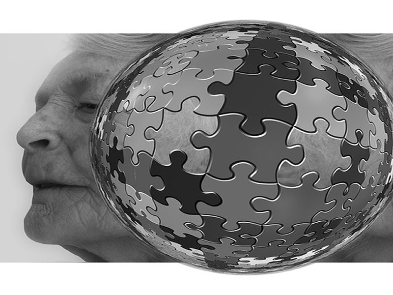 The image shows the face of an old woman with jigsaw pieces surrounding it.