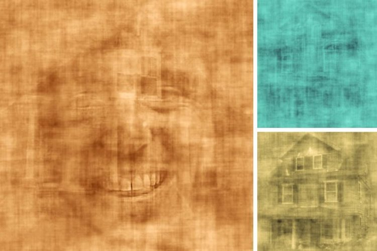 This image shows shots from the video overlapping faces and houses.
