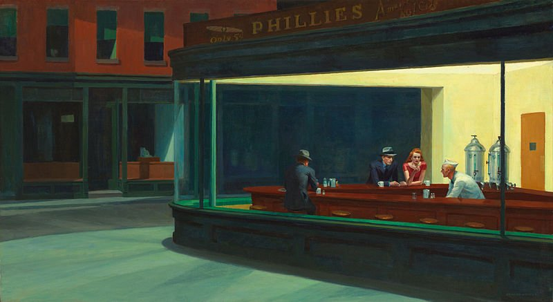 This image is the famous Nighthawks painting by Edward Hopper, circa 1942.
