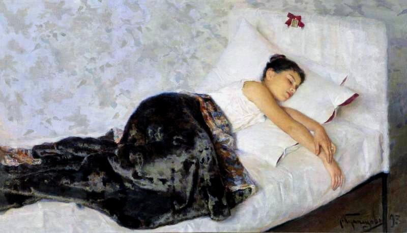The image is the painting Sleeping Girl.