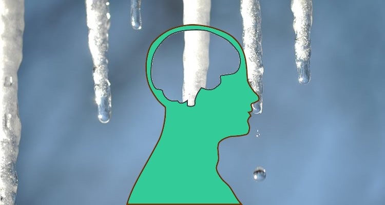 The image shows icicles and a human head outline.
