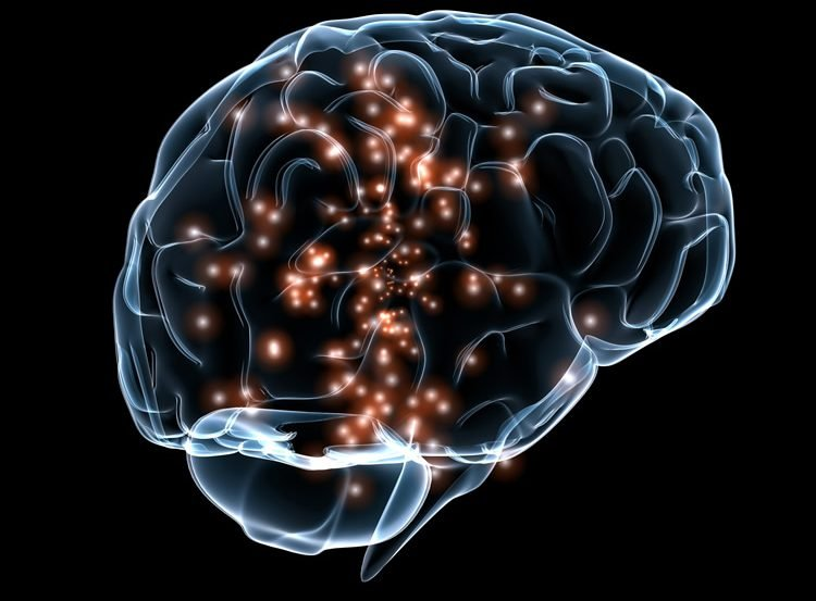 The image shows a brain with small lights inside it.