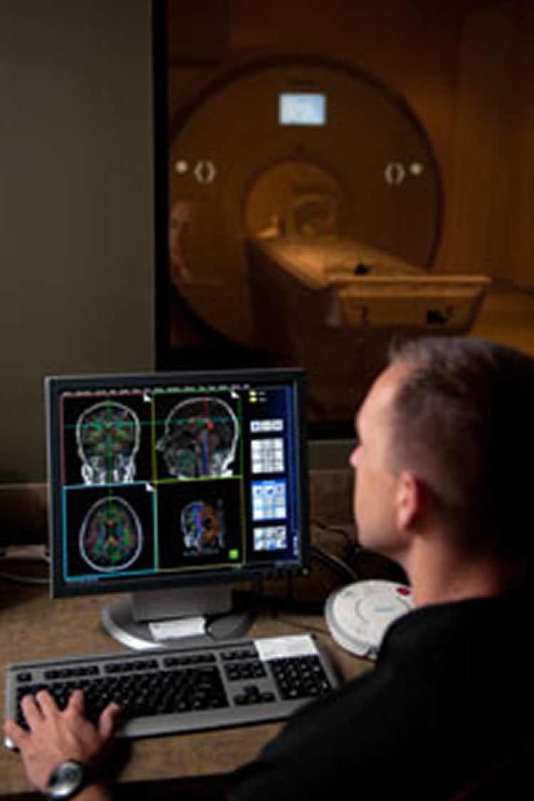 This image shows a researcher looking at fmri brain scans on his computer.