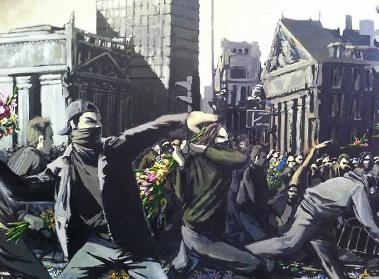 The image shows one of Banksy's murals called 'Riot'.