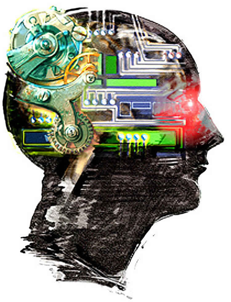 This image is a representation of AI. It shows a head with computer parts inside.