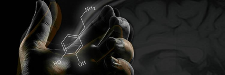 The image shows a hand with the chemical structure for dopamine drawn on it.