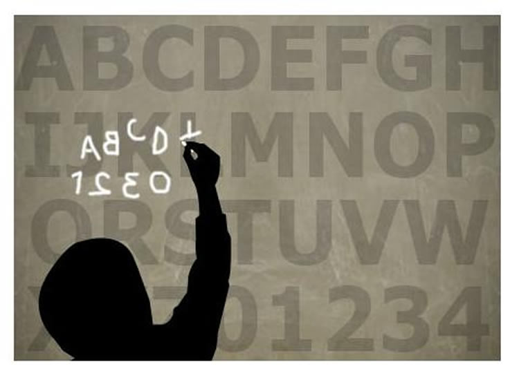 The image shows letters on a board. There is an outline of a child writing letters, but getting most the wrong way round.