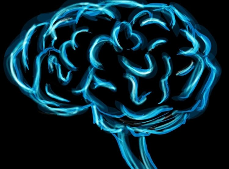 The image shows a painting of a brain in electric blue.
