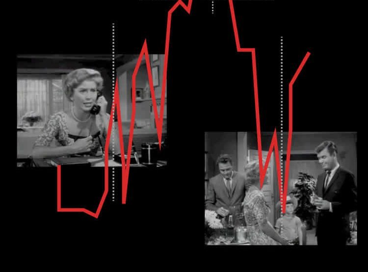 The image shows stills from Hitchcock movies.