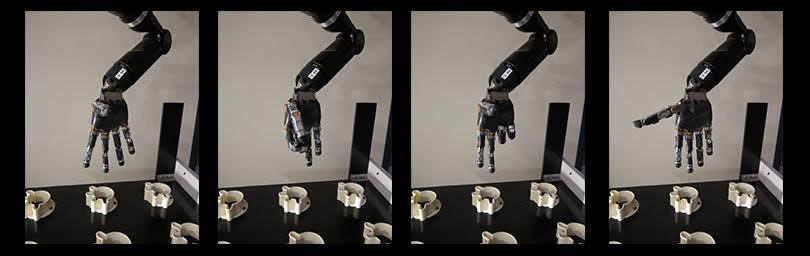 The collection of images shows the hand and fingers of the robotic arm in different positions.