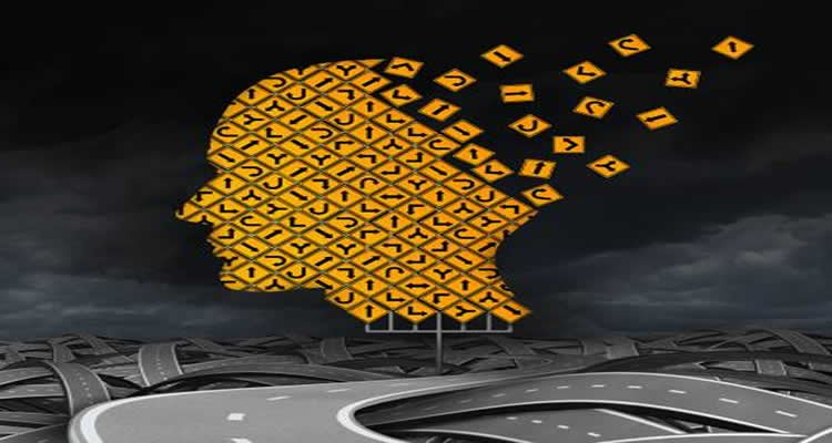 This illustration shows a head made up of jigsaw pieces, sitting on a road.