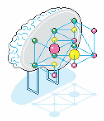 This illustration shows half on a brain with dots to represent a network in place of the other half.