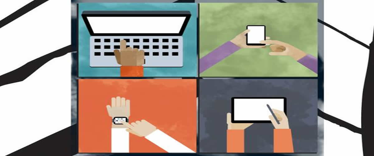 This shows four drawings of hands using devices such as laptops, smartphones and tablets.
