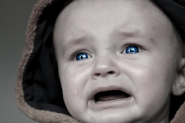 This image shows a crying baby.