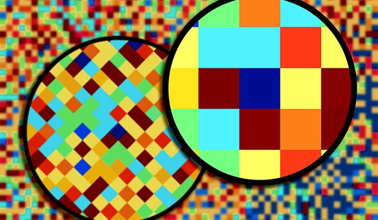 This image shows colored squares in a magnifying glass.