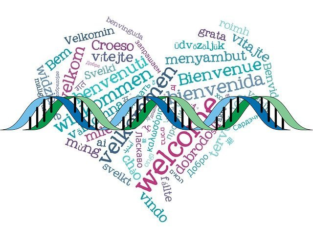 This image shows a heart made up of different language variations for the word Welcome. Overlaid is a DNA strand.