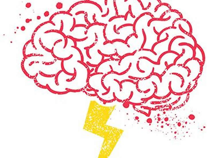 This image shows a drawing of a brain and a lightening bolt.