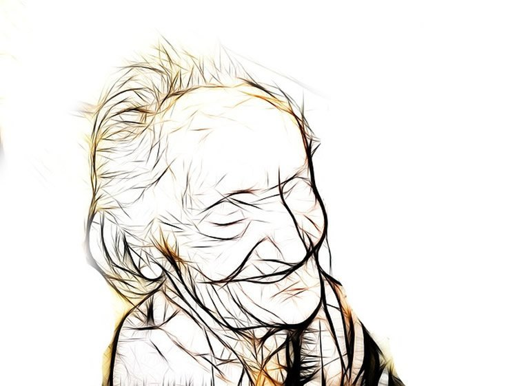This image shows a drawing of an old lady.