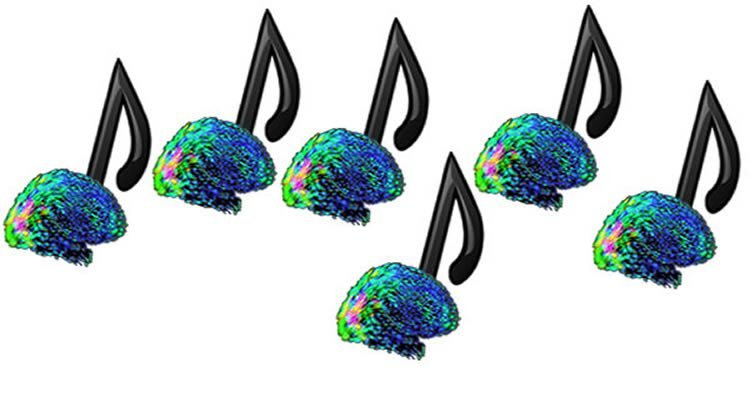This graph shows musical notes with brains attached.