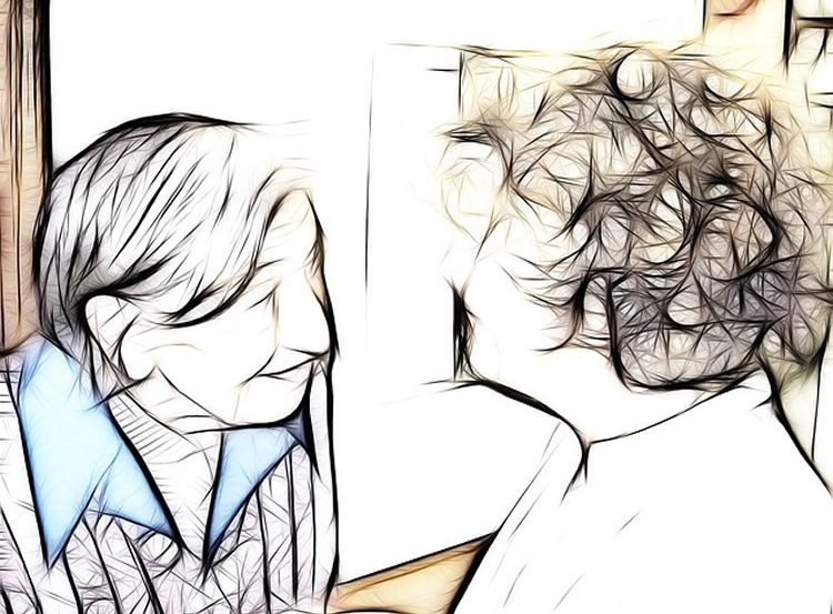 This image shows a drawing of two elderly women.