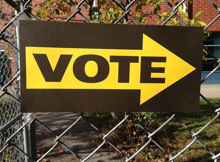 The image shows a voting sign.