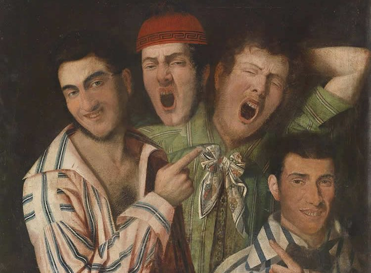 This is a painting of four people. Three are yawning.