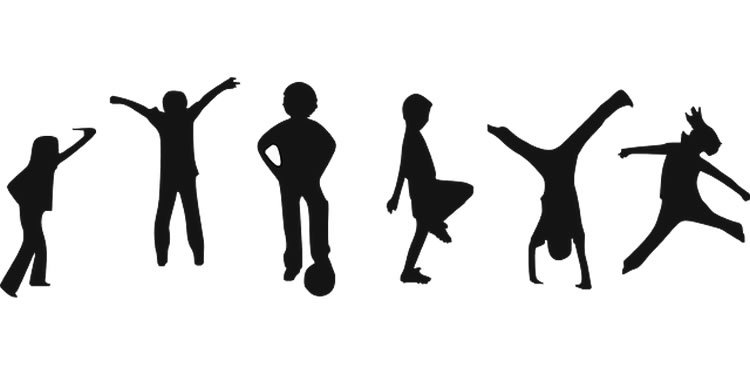 This image shows the outline of kids exercising.