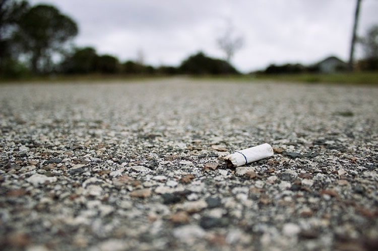 This image shows a cigarette stub on a road.