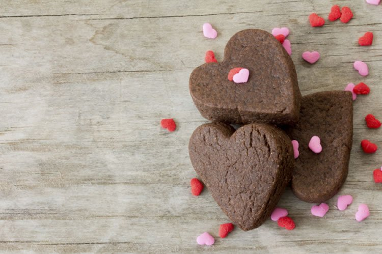 This image shows brownies in the shape of hearts.