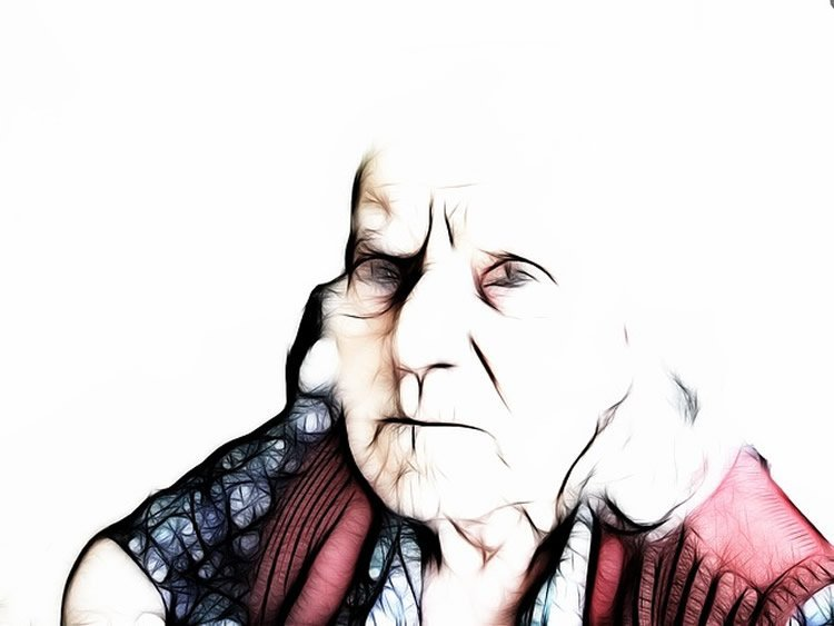 Drawing of an elderly lady.