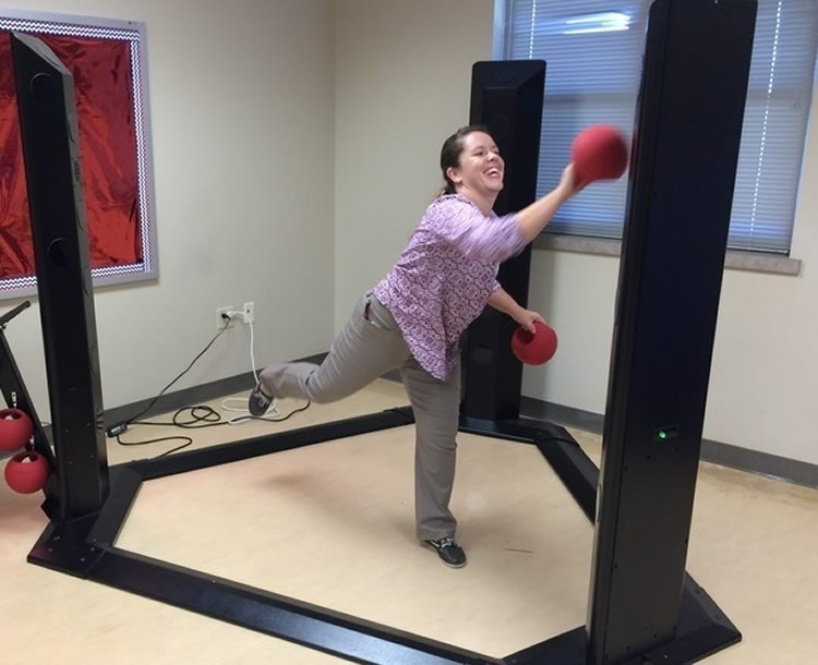 Image of a researcher playing an exergame.