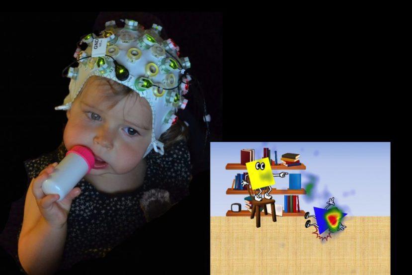 Image shows a little girl wearing a EEG cap.