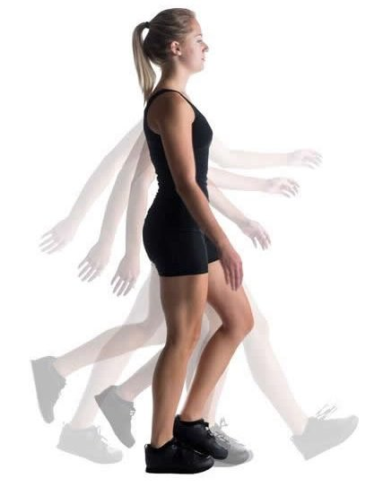 This shows a woman walking.