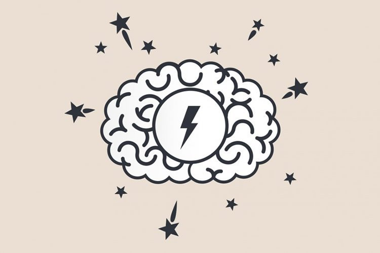 Drawing of a brain with a lightening bolt inside it.