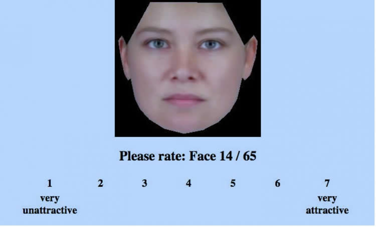 This is a screen shot from the experiment showing a woman's face and a rating system from 1-5.