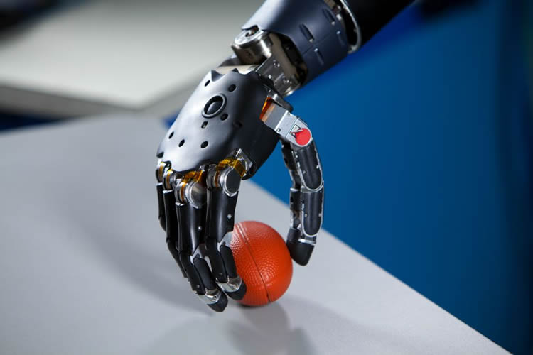 Image of a prosthetic arm holding a ball.