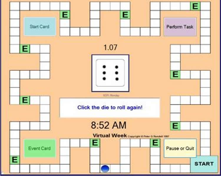 "Image shows a screen shot of ""Virtual Week"" brain game."