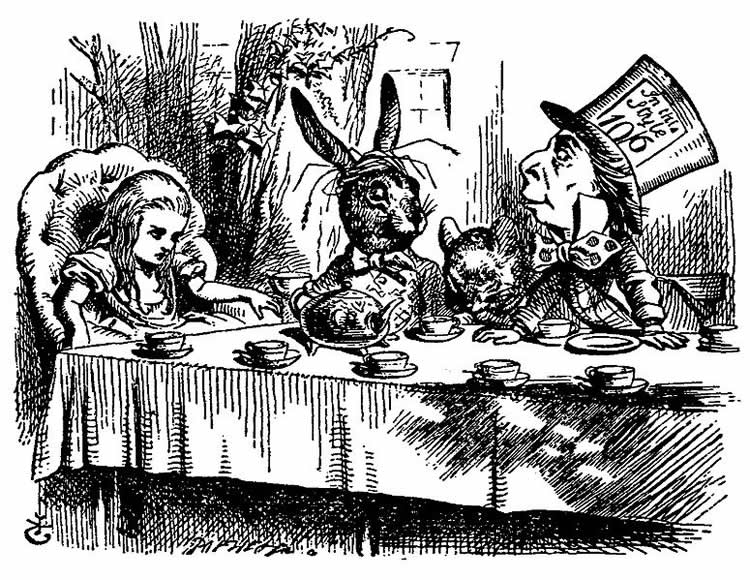 Illustration from Alice in Wonderland. Alice is sitting at the table with the Mad Hatter and Hare.
