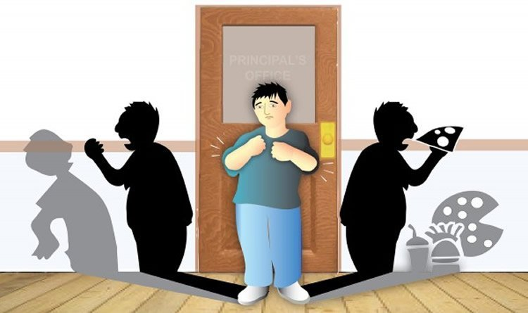 Cartoon of a person coming out of a door. To the right his shadow is eating piza, to the left, he is shouting at another person.