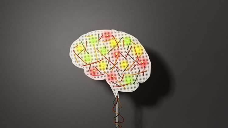 Photo shows a brain made up from an electrical board with LED lights.