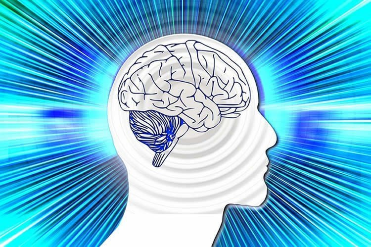 Outline of a head and brain against a streaky blue background.
